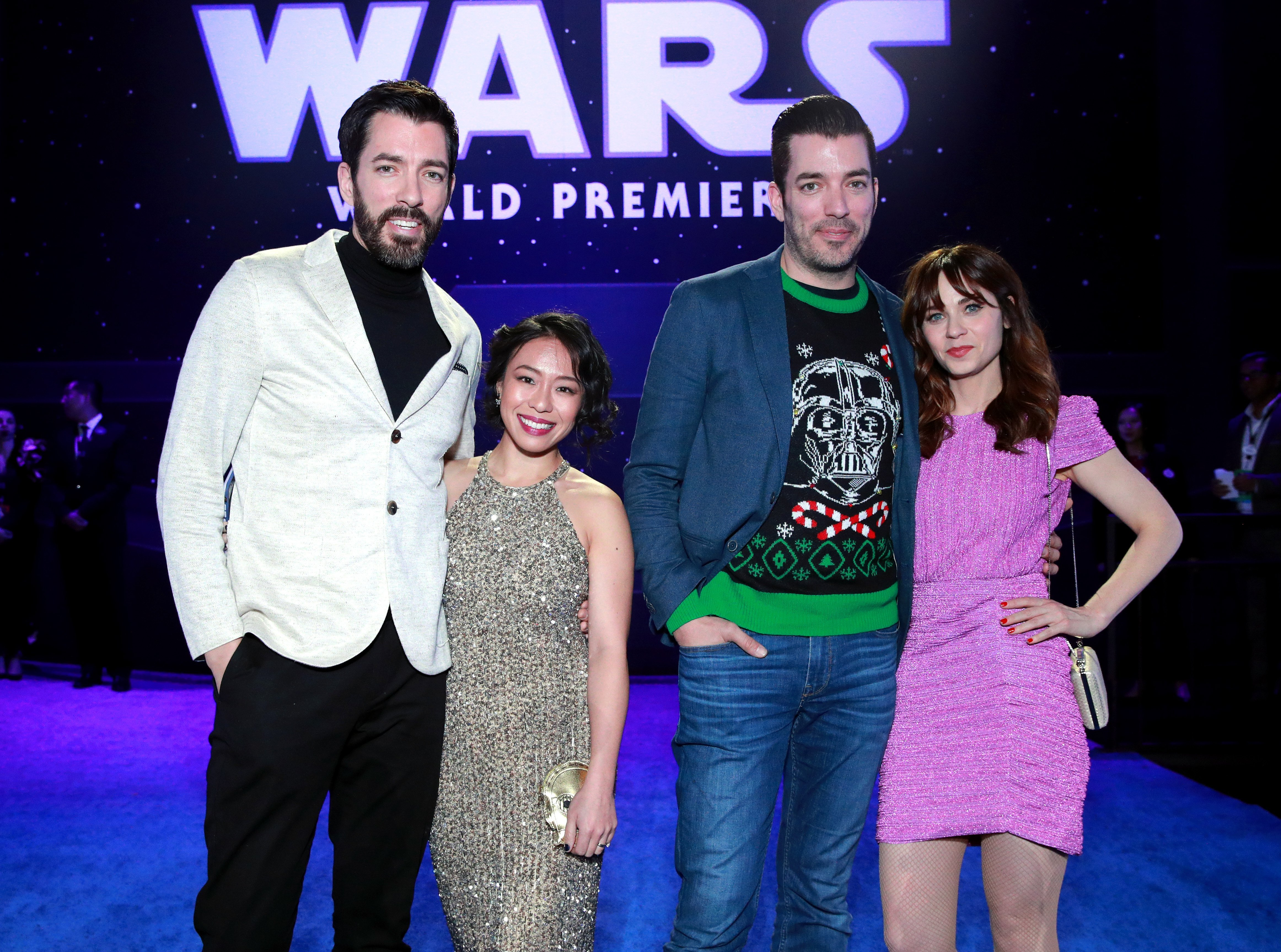"""Property Brothers"" stars Drew and Jonathan Scott with Linda Phan and Zooey Deschanel on December 16, 2019 in Hollywood, California 