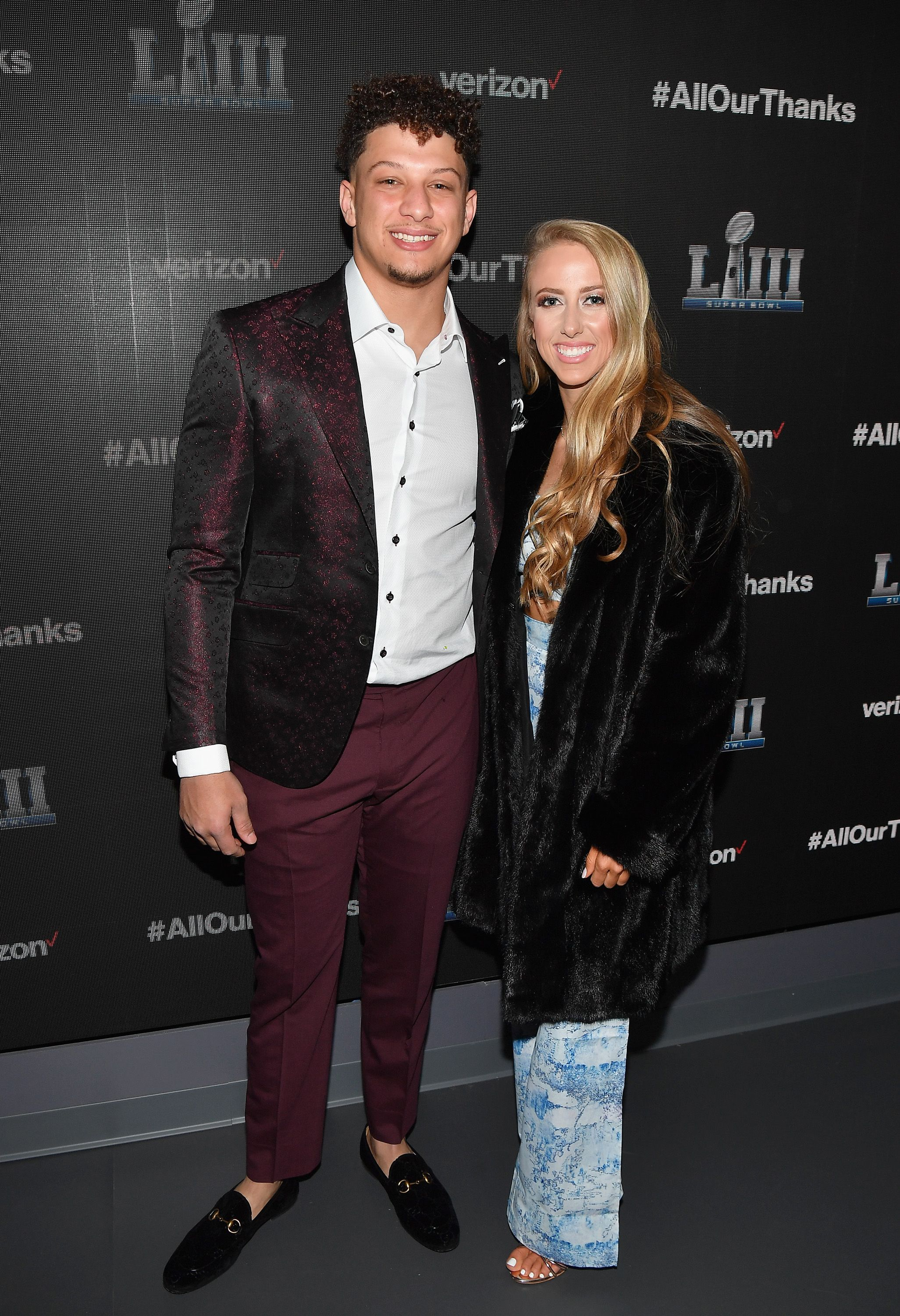 "Patrick Mahomes II and Brittany Matthews during the world premiere event for ""The Team That Wouldn't Be Here"" documentary hosted by Verizon on January 31, 2019. 