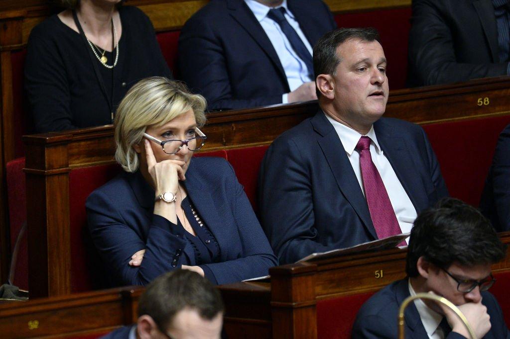 Marine Le Pen et Louis Aliot à l'Assemblée Nationale le 4 avril 2018. l Source : Getty Images
