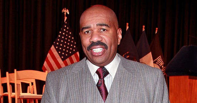 Steve Harvey of 'Family Feud' Fame Shares Adorable Video of His Chat with Grandson Ezra in a Large Copper Bathtub