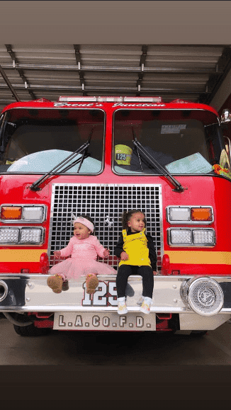 True Thompson and Dream Kardashian were all smiles at the fire station.   Source: Khloe Kardashian/Instagram Stories