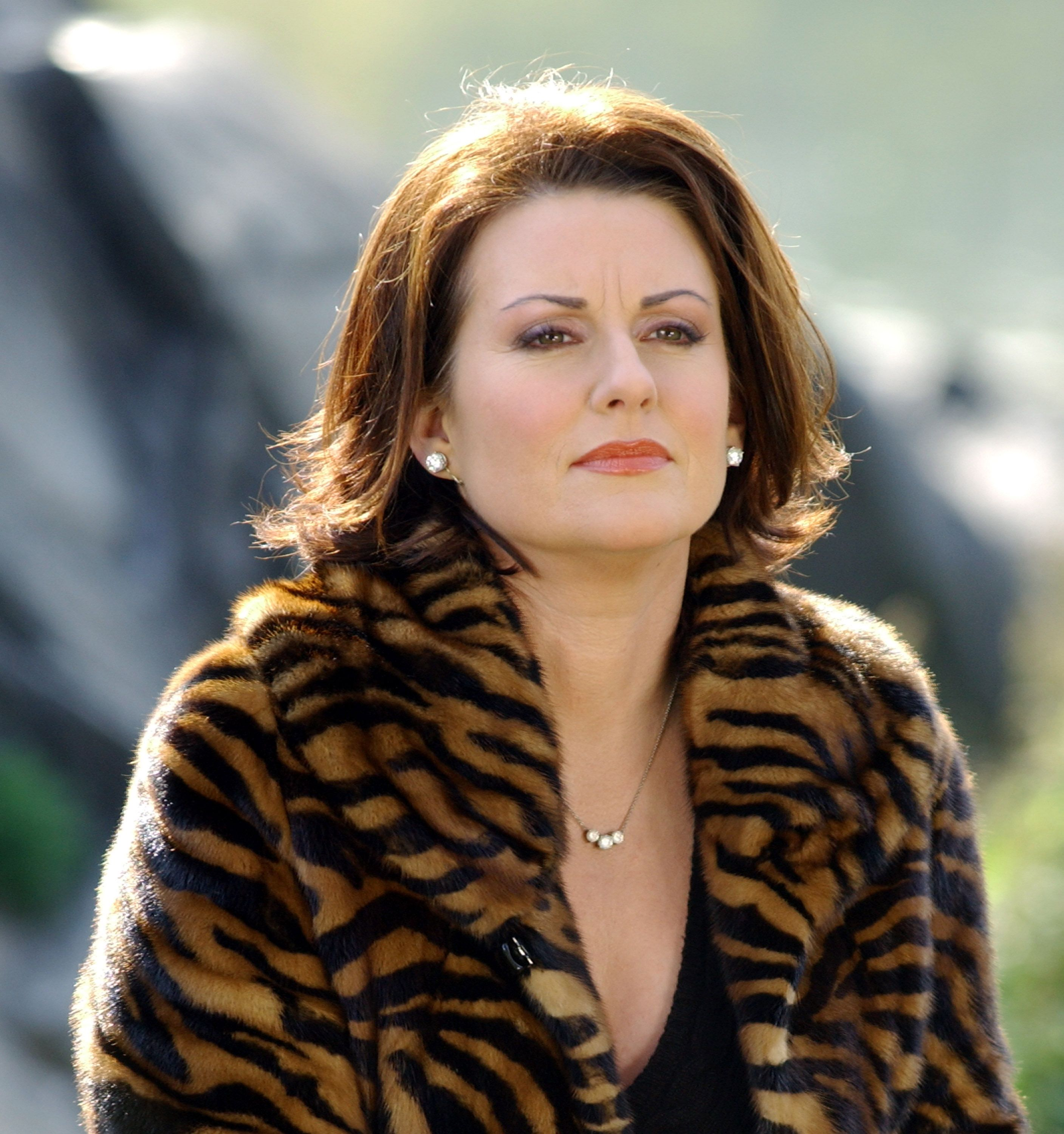 """Megan Mullally filming """"Will and Grace"""" in Central Park in New York City - November 8, 2002 