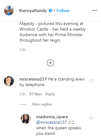 Followers comment on the Queen's weekly meeting with Prime Minister Boris Johnson via telephone on March 25, 2020. | Source: Instagram/The Royal Family.