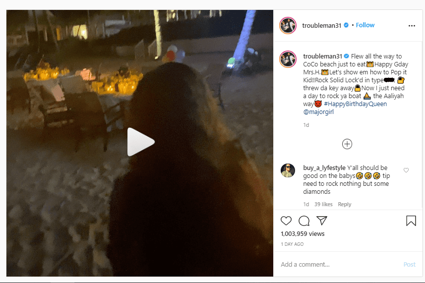 T.I surprised his wife,Tameka Harris, with a beachside birthday dinner | Source: Instagram/troubleman31