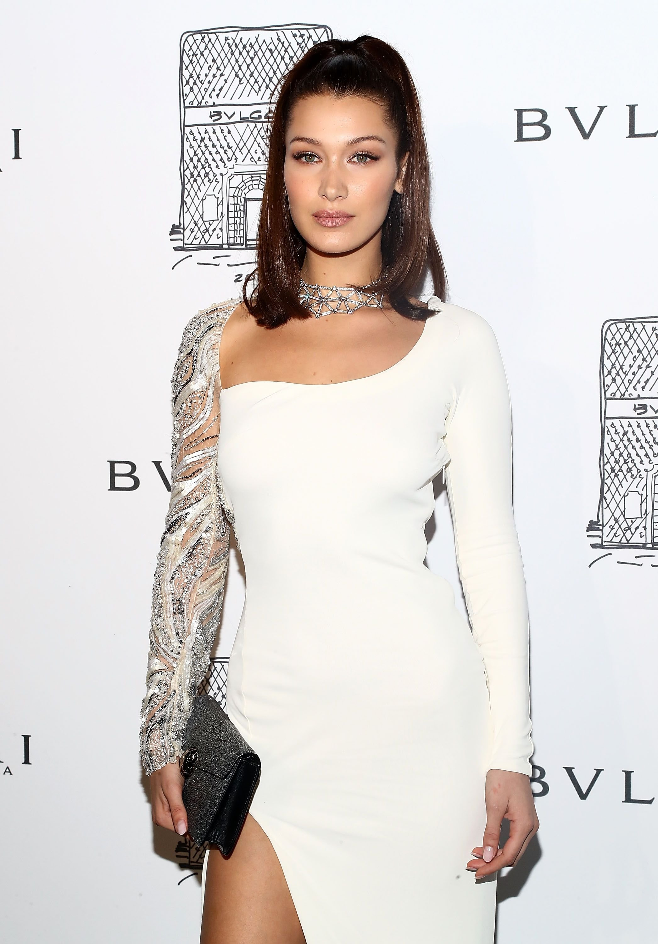 Bella Hadid at Bulgari 5th Avenue flagship store opening on October 20, 2017   Photo: Getty Images