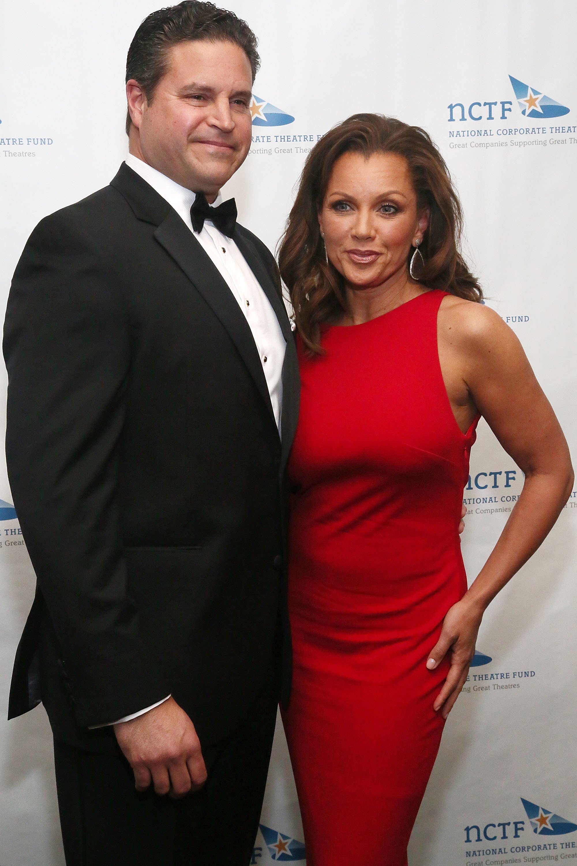 Jim Skrip and actress Vanessa Williams, wearing a dress designed by Azadeh attend the National Corporate Theatre Fund 2013 Chairman's Award Gala at The Pierre Hotel on April 29, 2013 | Photo: Getty Images