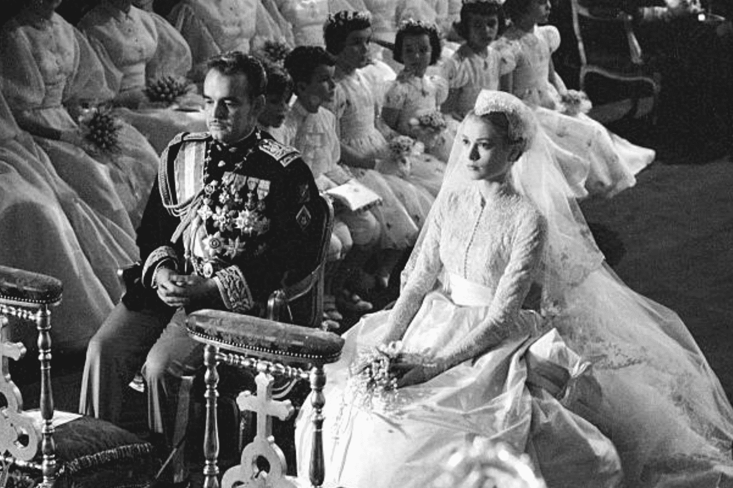 Grace Kelly and Prince Rainier's seated during their wedding ceremonyat theCathedral of Our Lady Immaculate in 1965, Monaco. | Photo: Getty Images.