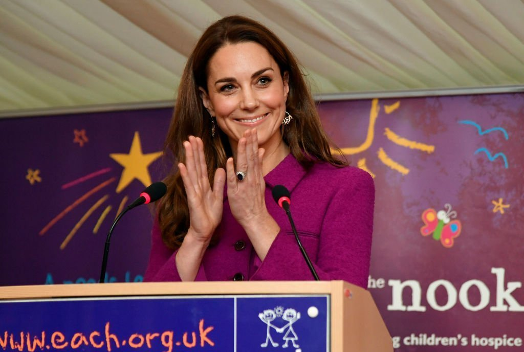 Catherine, Duchess of Cambridge gestures as she delivers a speech, officially opening the Nook Children's Hospice on November 15, 2019 in Framingham Earl, Norfolk. | Photo: Getty Images
