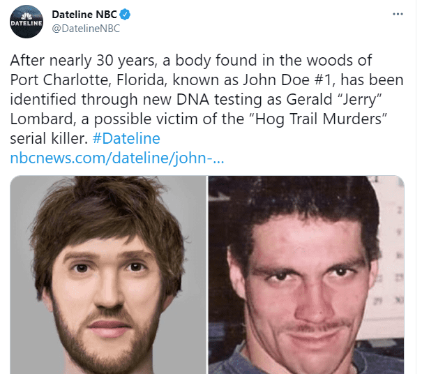 On the left a sketch of what John Doe #1 might have looked like and his actual photo on the right on June 10, 2021 | Photo: Twitter/@DatelineNBC