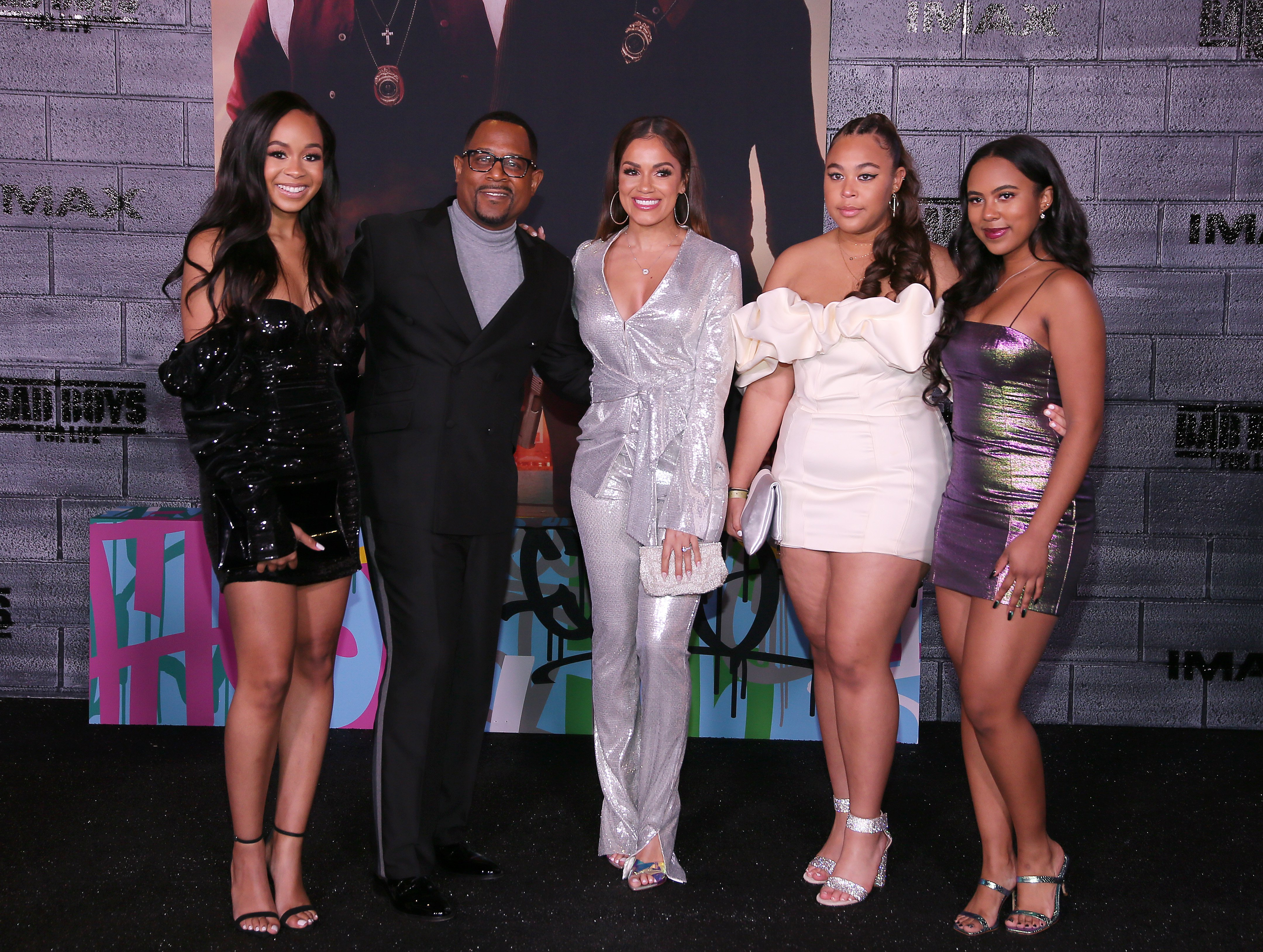 """Martin Lawrence and his daughters Iyanna, Jasmine, and Amara attend the World Premiere of """"Bad Boys for Life""""  with Roberta Moradfar on January 14, 2020. 