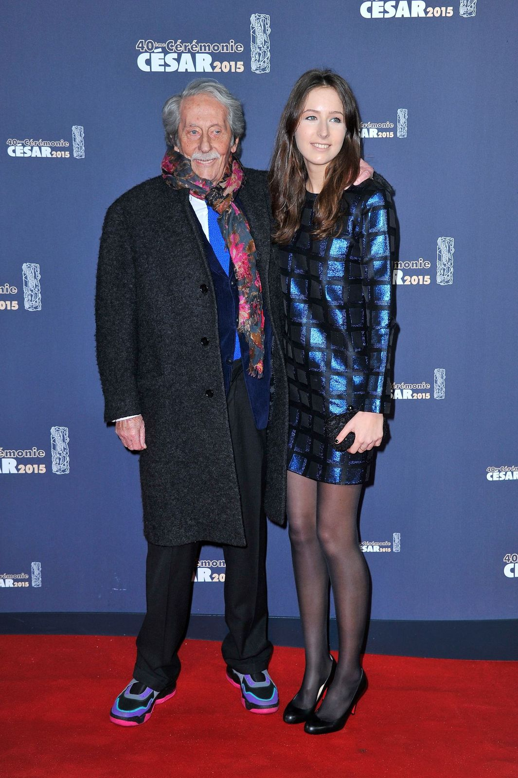 Jean Rochefort et Clemence Rochefort au Théâtre du Chatelet le 20 février 2015 à Paris, France. | Photo : Getty Images