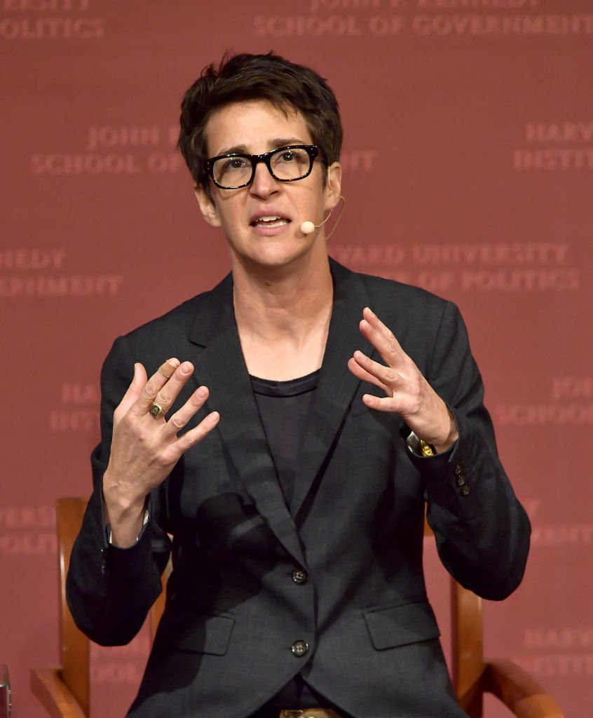 """Rachel Maddow speaks at the Harvard University John F. Kennedy Jr. Forum in a program titled """"Perspectives on National Security"""" on October 16, 2017 in Cambridge, Massachusetts 