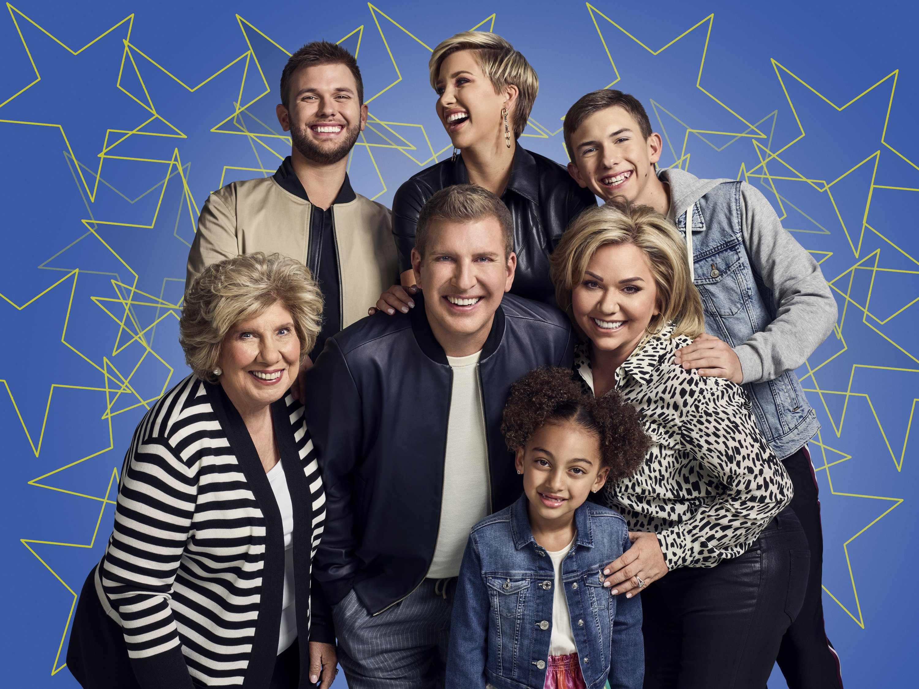 A portrait picture of Faye Chrisley, Chase Chrisley, Todd Chrisley, Savannah Chrisley, Chloe Chrisley, Julie Chrisley, Grayson Chrisley. | Source: Getty Images.