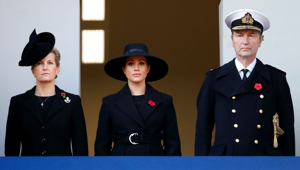 Sophie, Countess of Wessex, Meghan, Duchess of Sussex and Vice Admiral Sir Timothy Laurence attend the annual Remembrance Sunday service at The Cenotaph. | Photo: Getty Images