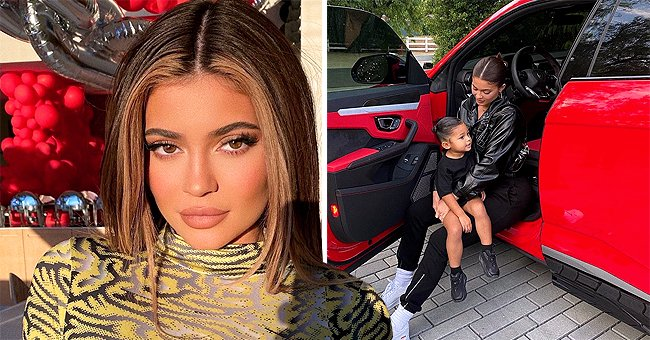 Kylie Jenner and Adorable Daughter Stormi Pose in Cool Black Outfits Sitting in a Red Car