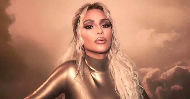 Kim Kardashian from KUWTK Dazzles in Stunning Golden Bodysuit & Lace up Heels in KKW Beauty Promo Pics