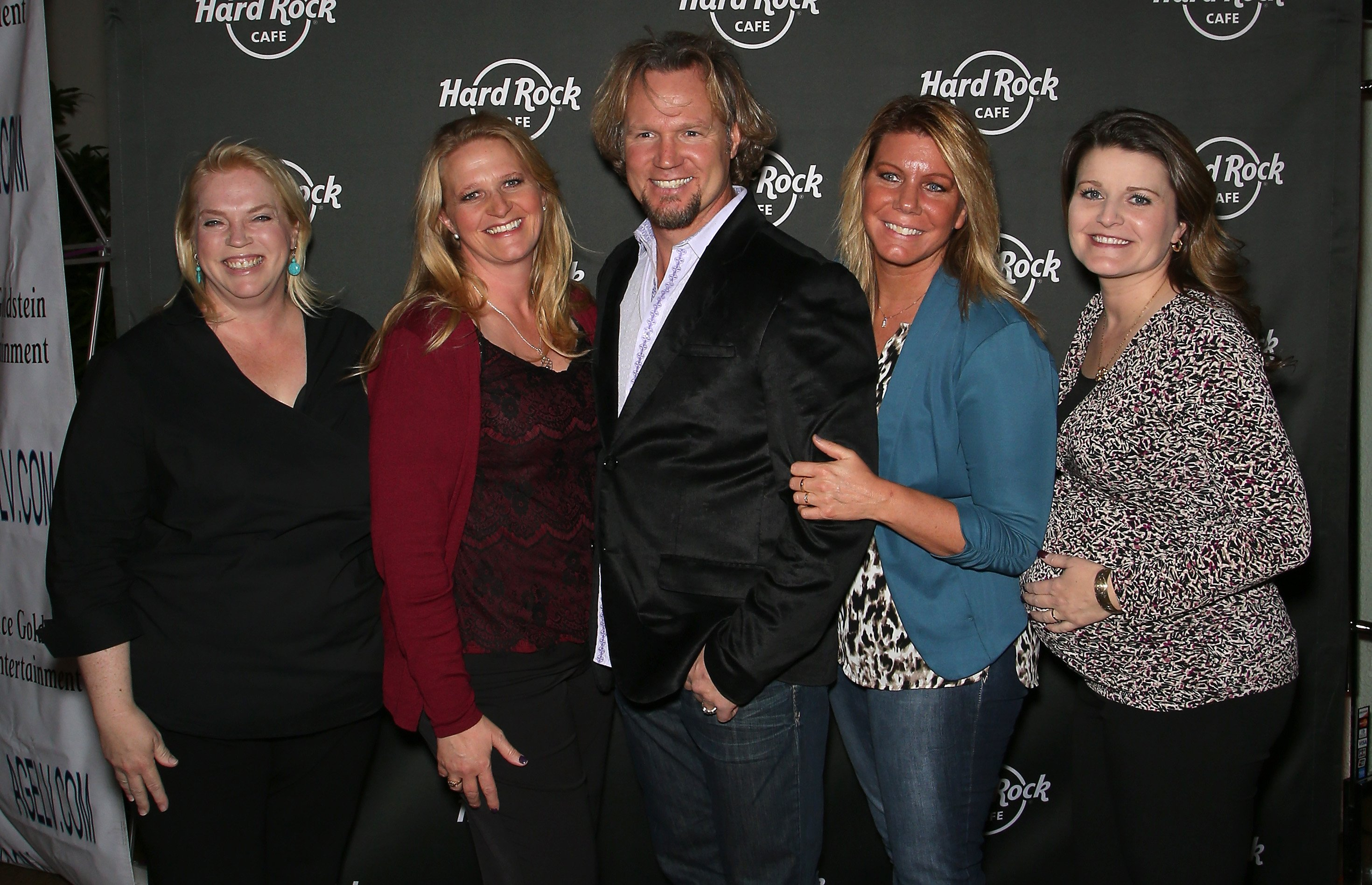 Kody Brown and his wives, Janelle Brown, Christine Brown, Meri Brown and Robyn Brown, attend Hard Rock Cafe Las Vegas at Hard Rock Hotel's 25th anniversary celebration on October 10, 2015   Photo: Getty Images