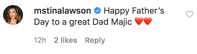 Tina Lawson commented on Cookie Johnson's Father's Day tribute to Magic Johnson | Source: Instagram.com/thecookiej