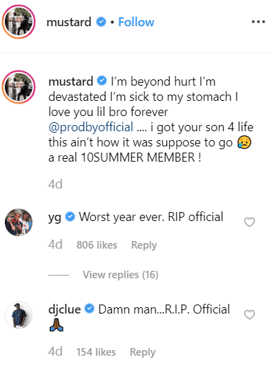 Screenshot of DJ Mustard's tribute to DJ Official. | Photo: Instagram/Mustard