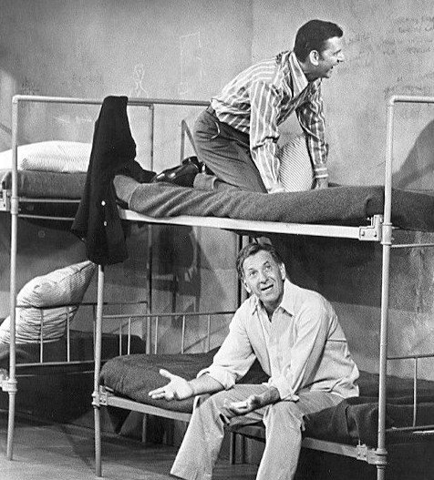 """Tony Randall as Felix Unger and Jack Klugman as Oscar Madison from the television comedy """"The Odd Couple."""" 