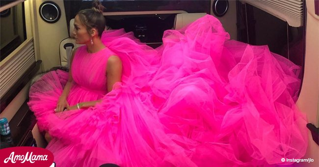 Jennifer Lopez looks like a huge pink cloud in an airy dress on an outing with A-Rod