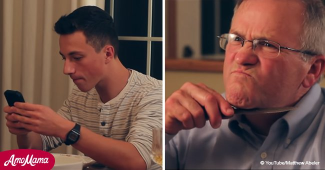 Father teaches his sons a lifelong lesson to not use phones during family dinner
