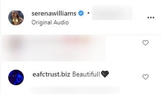 A compliment on Serena Williams' clip on her Instagram page   Photo: Instagram/serenawilliams