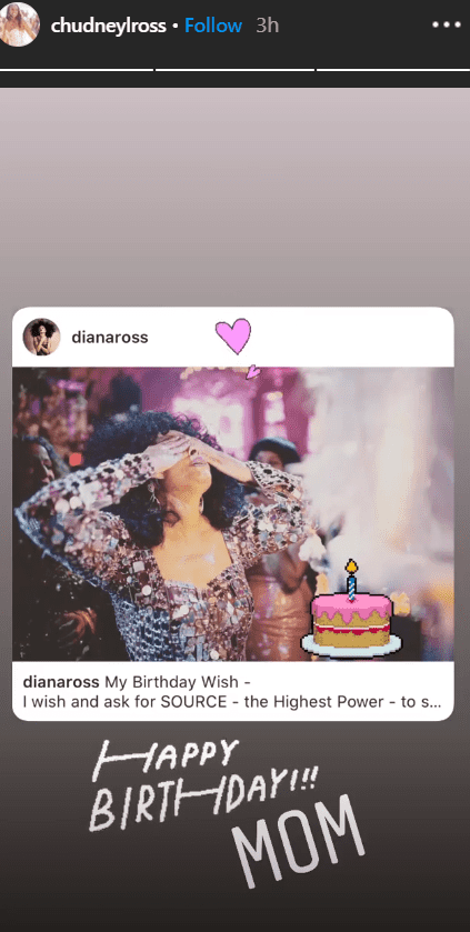 A screenshot of Chudney Ross's Instagram story featuring her birthday tribute for her mother, Diana Ross. | Photo: Instagram/chudneylross