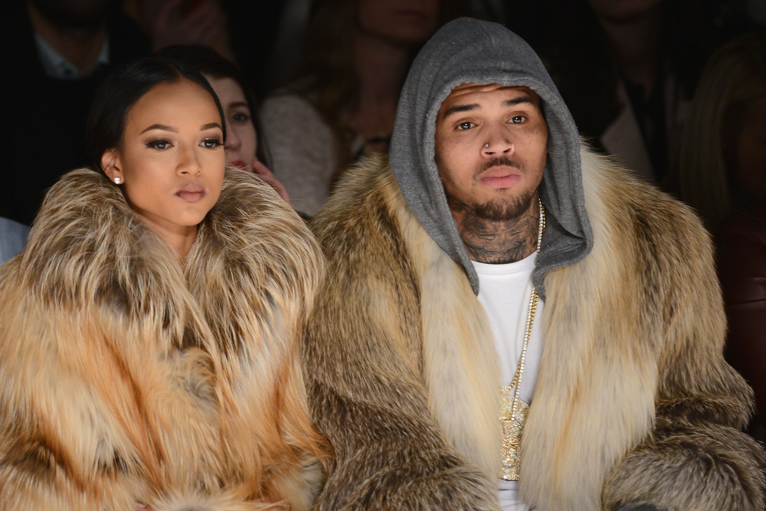 Karrueche Tran  and Chris Brown attends the Michael Costello fashion show during Mercedes-Benz Fashion Week Fall 2015 at The Salon at Lincoln Center on February 17, 2015 in New York City | Photo: GettyImages