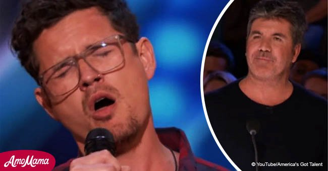 Simon Cowell jumps up to hit golden buzzer after hearing man's incredible voice
