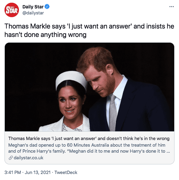 A screenshot of Meghan Markle and Prince Harry | Photo: twitter.com/Daily Star