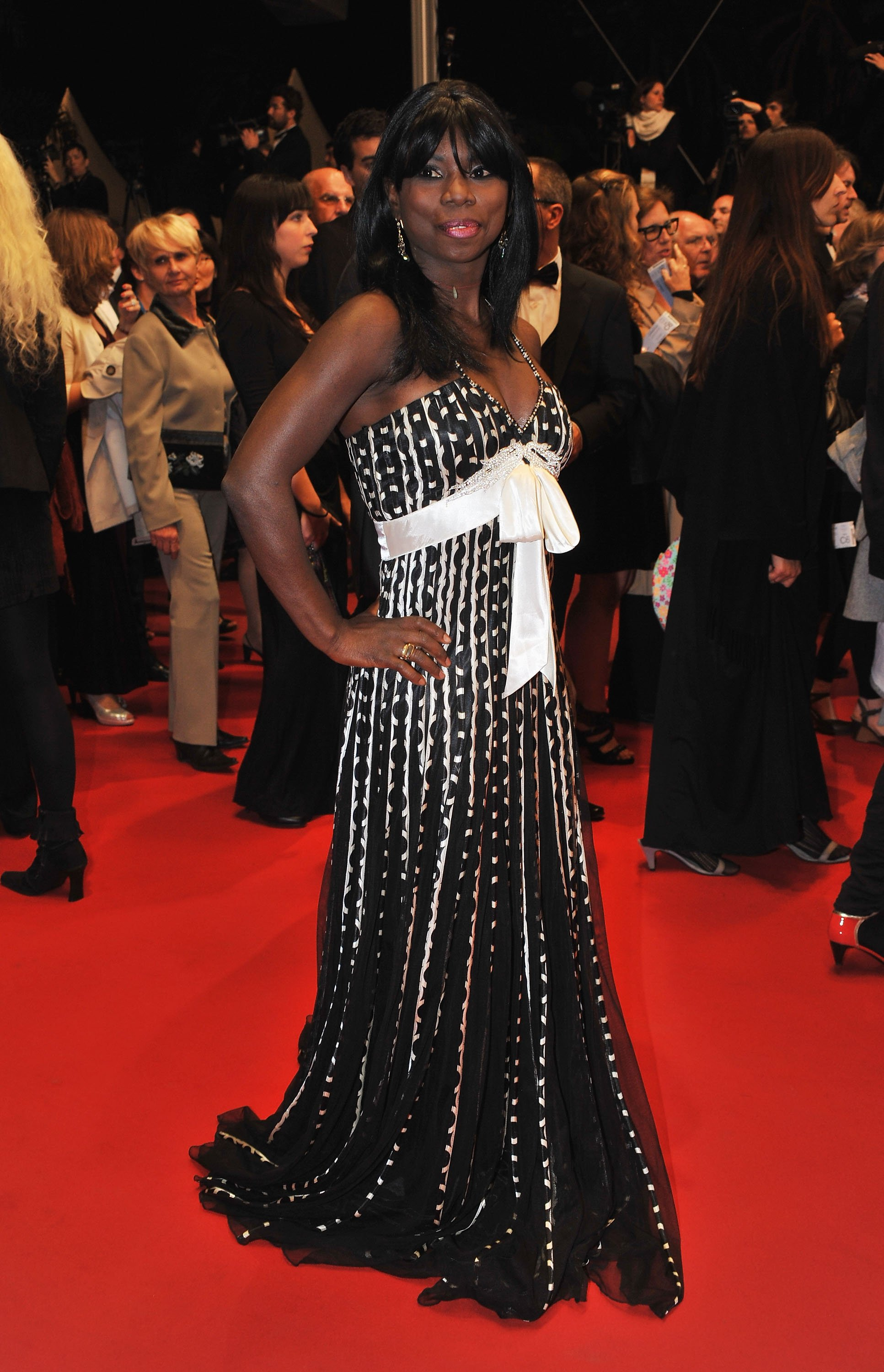 """Figure skater Surya Bonaly departs the """"Another Year"""" Premiere at the Palais des Festivals during the 63rd Annual Cannes Film Festival on May 15, 2010 