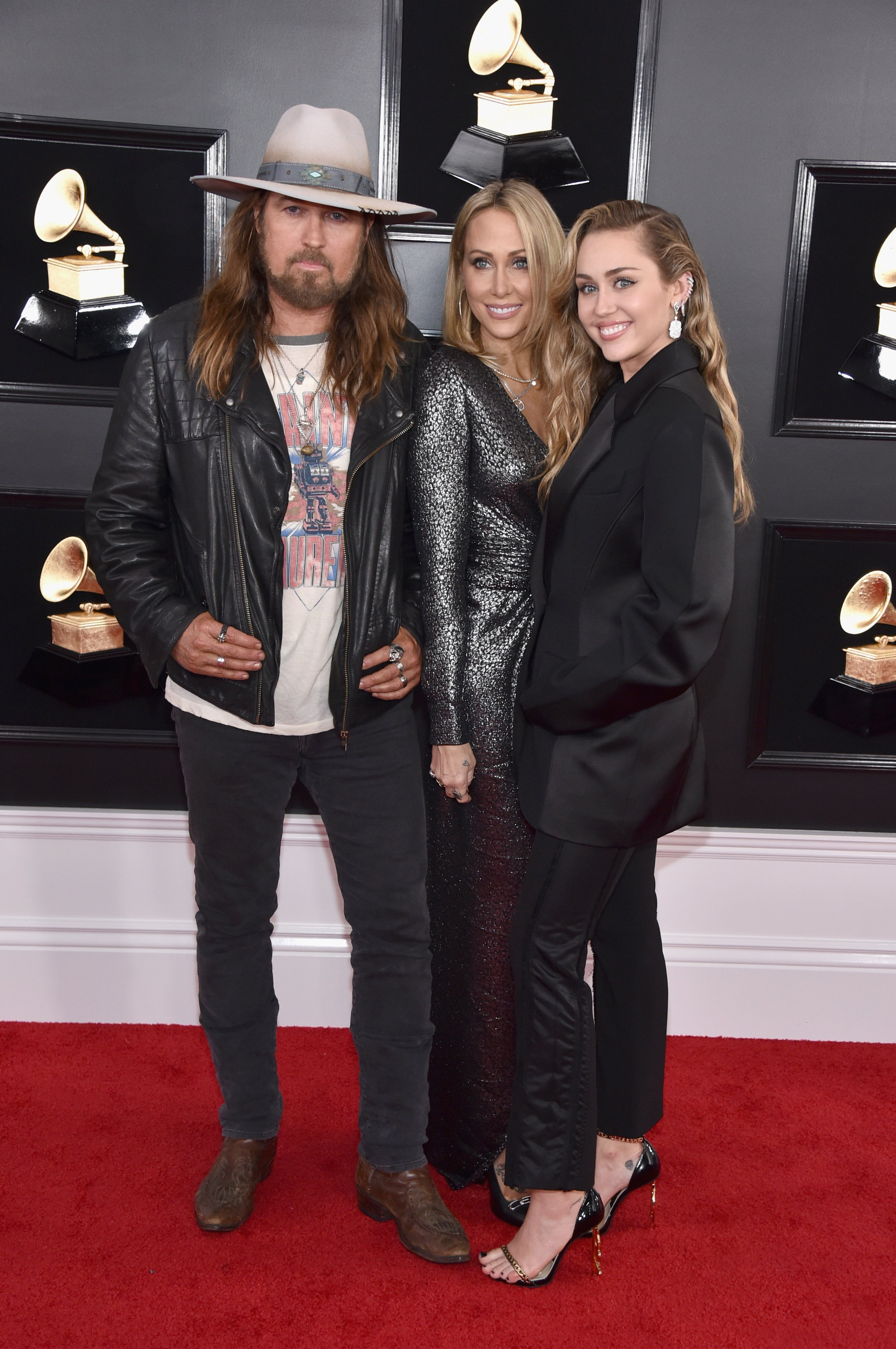 Billy Ray Cyrus, Tish Cyrus, and Miley Cyrus attend the 61st Annual GRAMMY Awards at Staples Center on February 10, 2019, in Los Angeles, California.   Source: Getty Images.