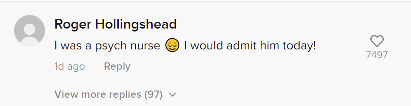 A user's comment on a TikTok video of a man trying to deboard mid air. | Photo: TikTok/funnydenny