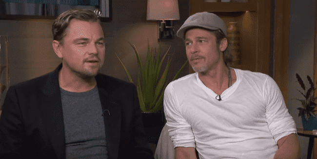 "Brad Pitt and Leonardo DiCaprio during an interview with BBC for the promotion of their film ""Once Upon a Time... In Hollywood,"" in August 2019. Source: YouTube/BBC News."