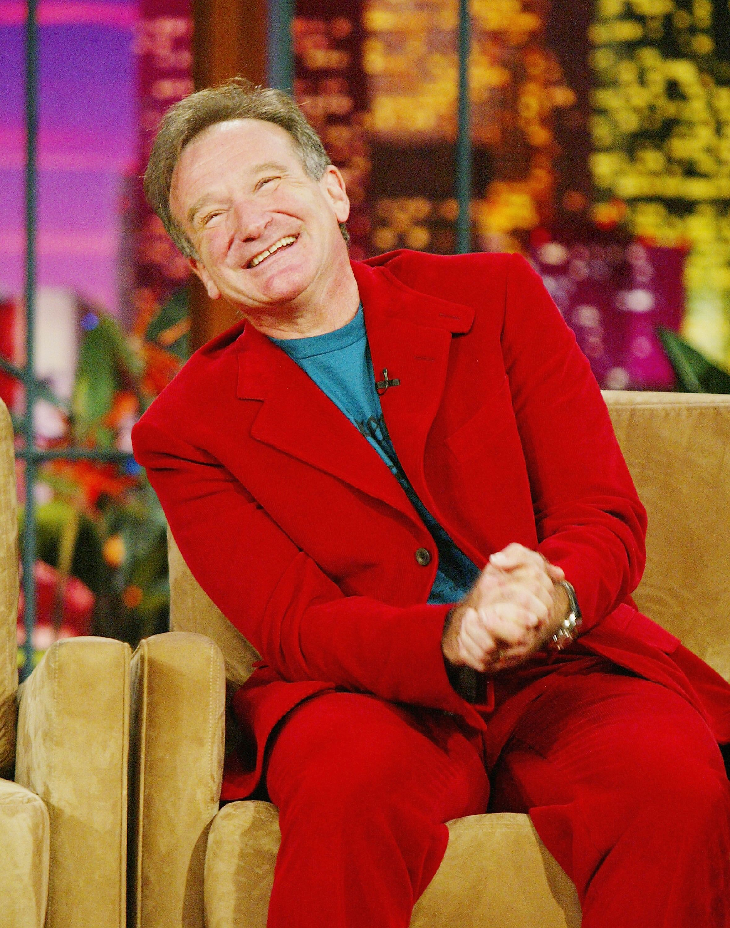 "Robin Williams on ""The Tonight Show wish Jay Leno."" 