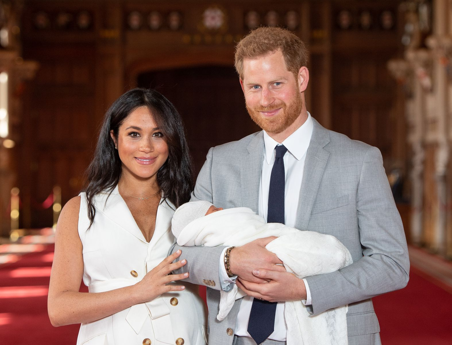 Prince Harry and Meghan Markle with their newborn son Archie Harrison Mountbatten-Windsor at Windsor Castle on May 8, 2019 | Getty Images