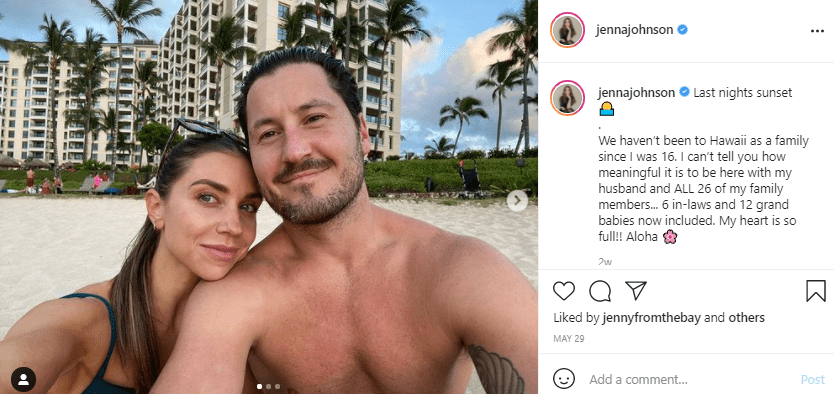 """A screenshot of """"Dancing With The Stars"""" stars Val Chmerkovskiy and his wife Jenna Johnson, looking gorgeous on Instgaram   Photo: Instagram/jennajohnson"""