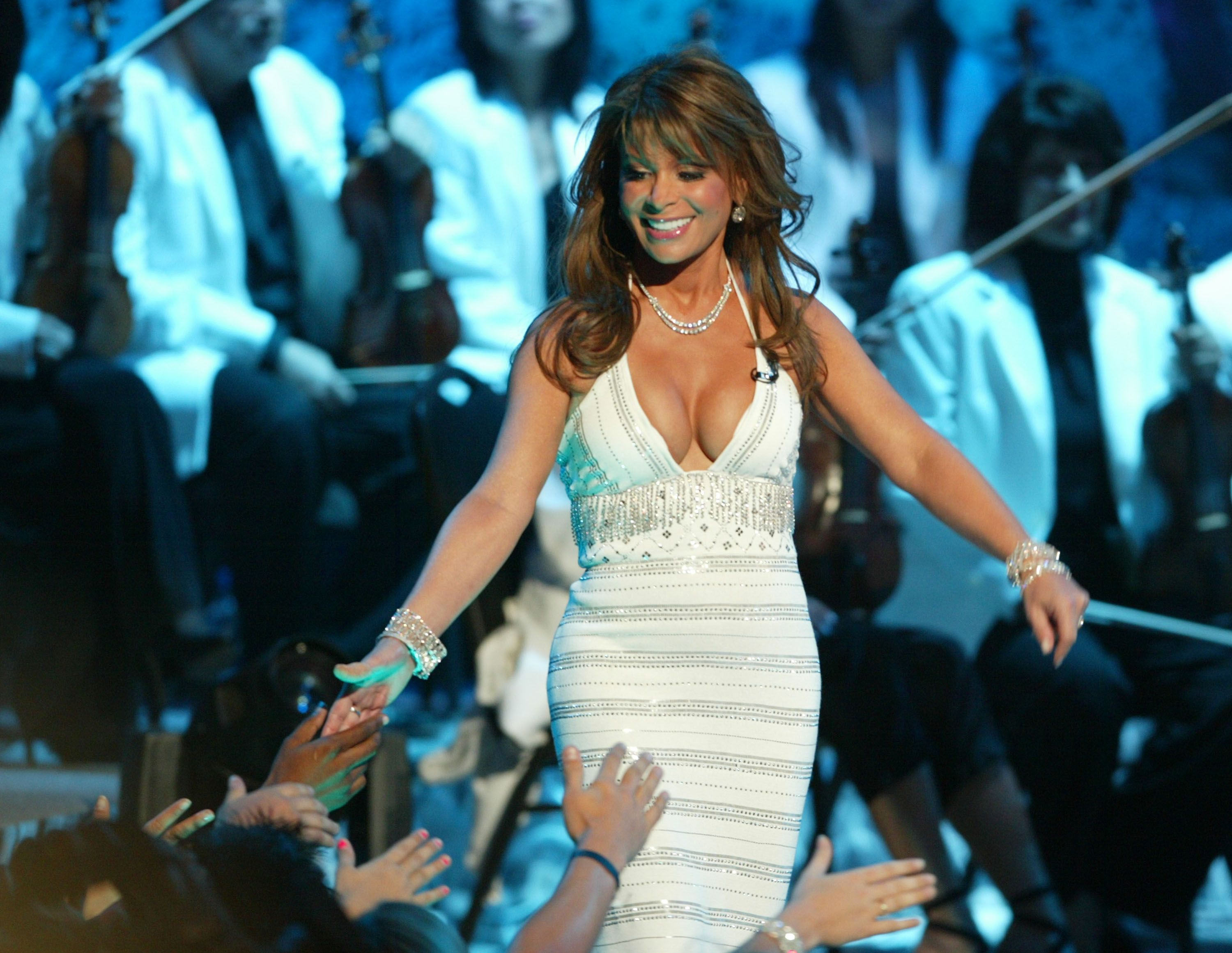 Judge Paula Abdul at the American Idol Season Three Grand Finale in 2004 in Hollywood   Source: Getty Images