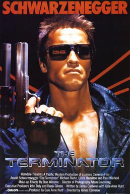 "The media poster for the film ""The Terminator."" 