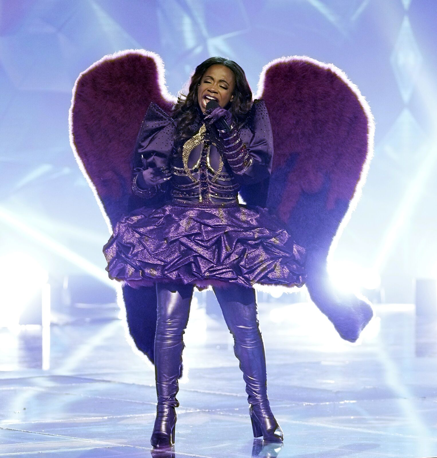 """Kandi Burruss singing as """"The Night Angel"""" in one of the episodes of """"The Masked Singer"""" on February 28, 2020 