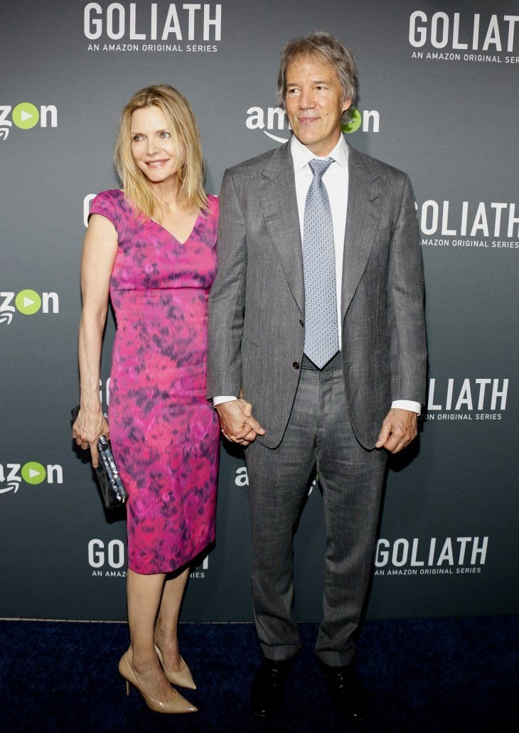 """Michelle Pfeiffer and David E. Kelley at the Los Angeles premiere of Amazon's """"Goliath"""" in West Hollywood on September 29, 2016   Photo: Shutterstock/Tinseltown"""