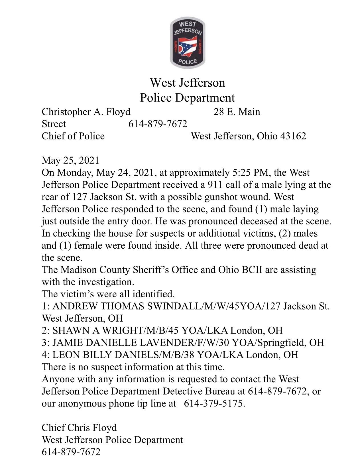 A statement of the incident from the West Jefferson Police Department. | Photo: Twitter/stevewsyx6