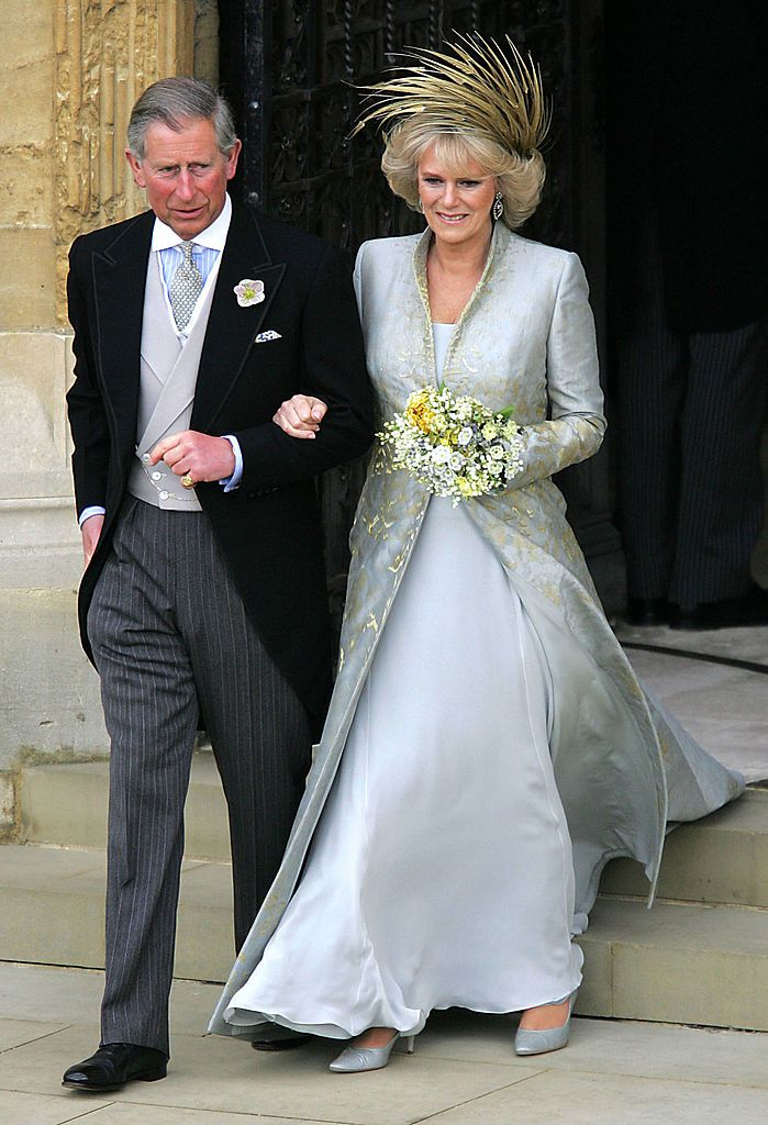 Prince Charles and Duchess Camilla at the Service of Prayer and Dedication following their marriage on April 9, 2005, in Berkshire, England | Photo: ROTA-Pool/Getty Images