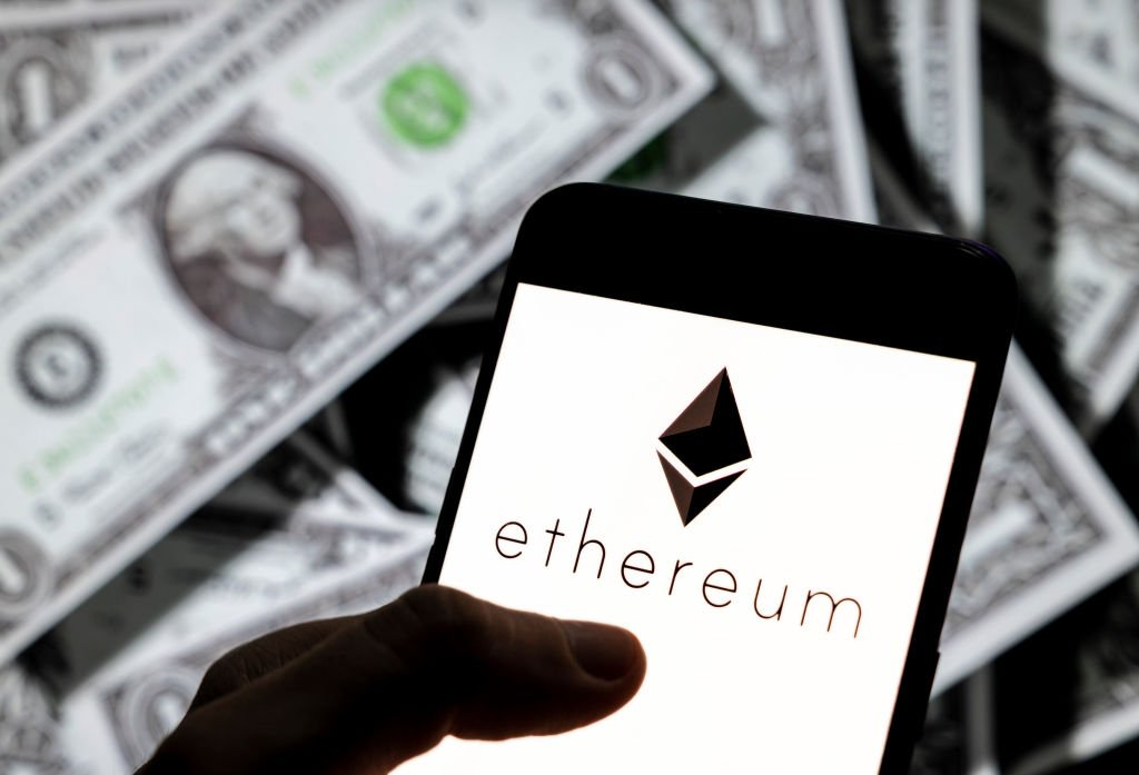 the cryptocurrency generated by the Ethereum (Ether, ETH) logo is seen on an Android mobile device screen.   Source: Getty Images