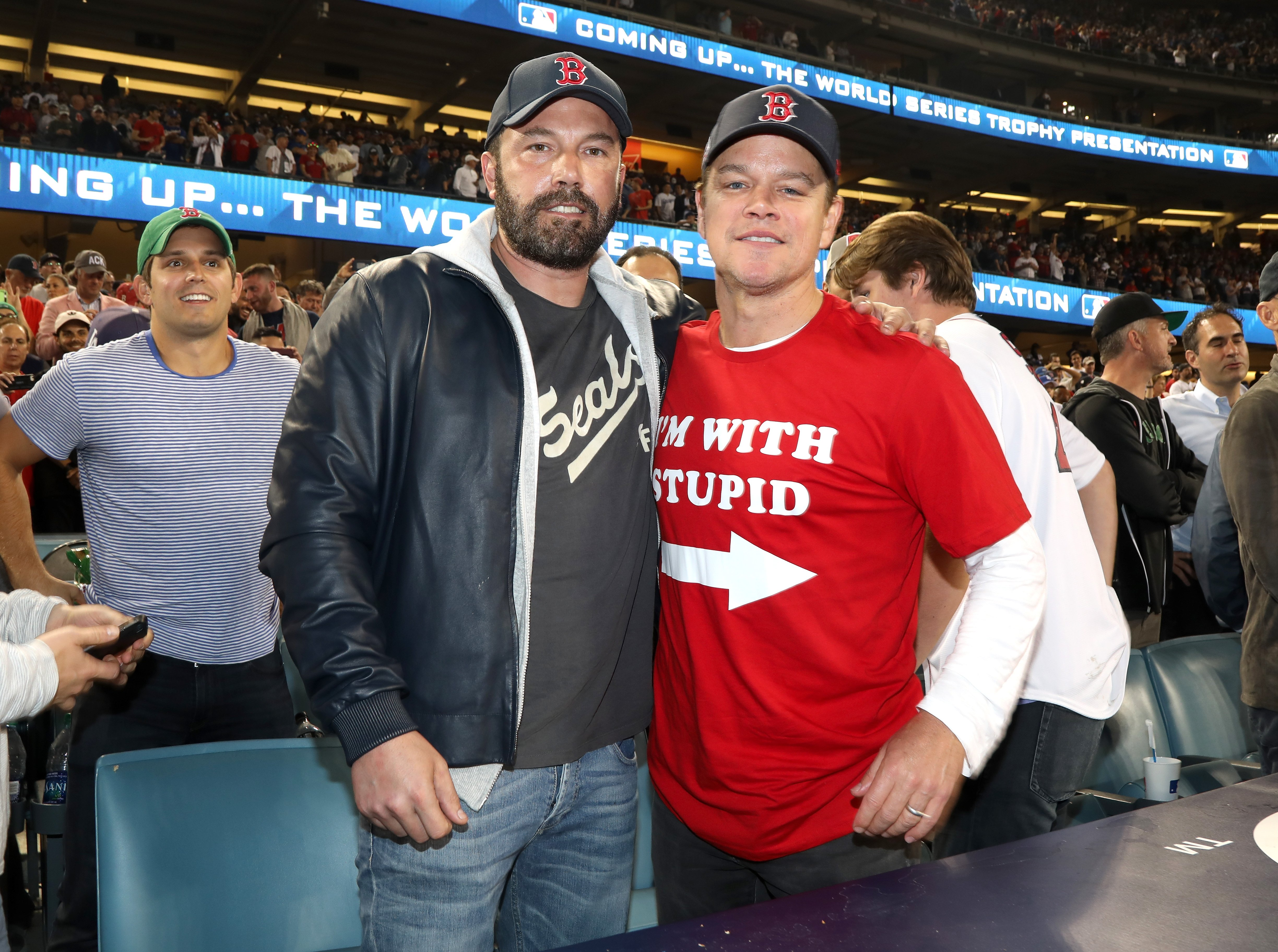 Ben Affleck and Matt Damon attheWorld Series game between the Boston Red Sox and theLos Angeles Dodgers at Dodger Stadium on October 28, 2018, in Los Angeles, California   Photo:Jerritt Clark/Getty Images