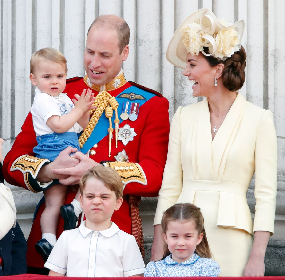 Prince William, Duke of Cambridge, Catherine, Duchess of Cambridge, Prince Louis of Cambridge, Prince George of Cambridge and Princess Charlotte of Cambridge stand on the balcony of Buckingham Palace during Trooping The Colour, the Queen's annual birthday parade, on June 8, 2019 | Photo: Getty Images