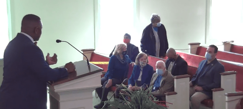 Jimmy Carter and Rosalynn Carter pictured in the front pew. 2021. | Photo: Facebook/MBCPlains
