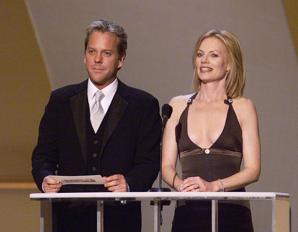 Kiefer Sutherland and Marge Helgenberger present at the 8th Annual Screen Actors Guild Awards | Getty Images / Global Images Ukraine