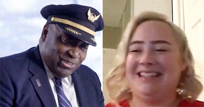 Captain CJ Charlton from United Airlines during a video call with Ashley Cronkhite   Photo: Twitter.com/united